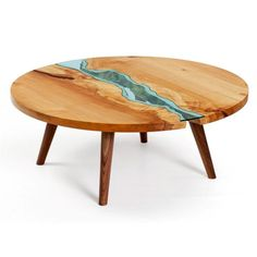 Live Edge Wood Round Coffee Table with Glass River | Unique Wood ...