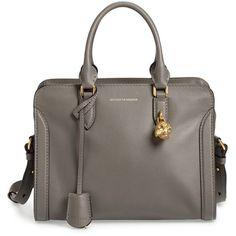 Alexander McQueen 'Small Padlock' Calfskin Leather Satchel ($1,345) ❤ liked on Polyvore featuring bags, handbags, dark grey, alexander mcqueen, alexander mcqueen purse, satchel bag, satchel handbags and structured satchel handbag