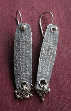 Slender Silver Mud Cloth Tablet Earrings by celiefago on Etsy