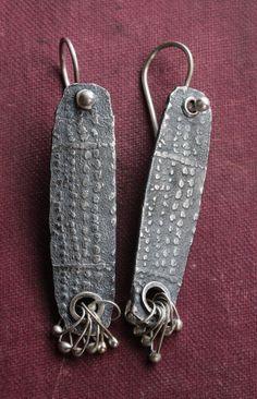 Slender Silver Mud Cloth Tablet Earrings by celiefago on Etsy