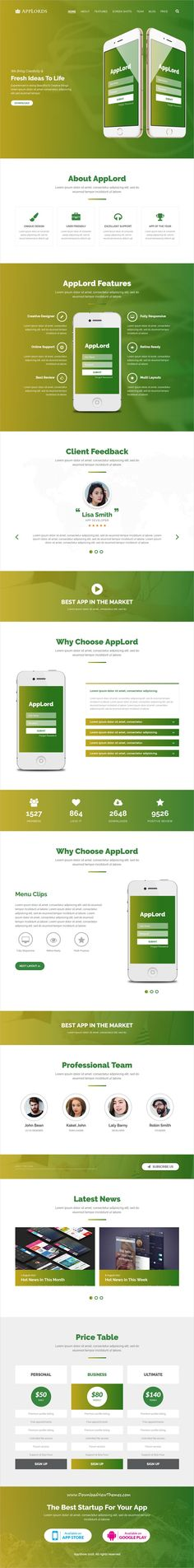 AppLords is clean and modern design 3in1 responsive #HTML template for #onepage app, events and product #landingpage website download now..