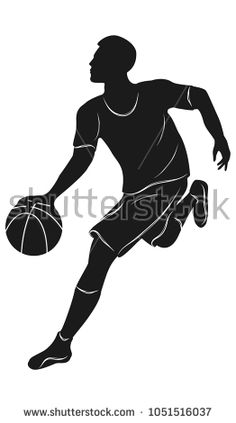 Sketch - Basketball player with ball - Isolated on white background - Art vector.