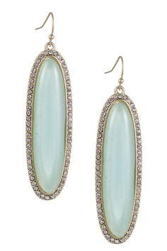 Blue Glass Elongated Oval Drop Earrings
