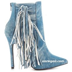 No Offers🌹 Denim Fringe Boot 🤑🎉ON SALE😍👠🎉 Fringed Boot 👑🎉Sale ends 8/27👠🎉NO OFFERS ON SALE PRICE Shoes Ankle Boots & Booties
