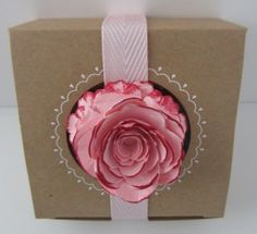 Amazing gift box made with the Spiral Flower die and decorative window boxes from #stampinup