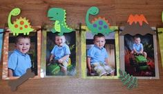 Items similar to Dinosaur Photo Banner for Birthday, First Birthday, Parties and MORE - 12 frame w/ detachable favor clips + 4 on Etsy 3rd Birthday Parties, Happy Birthday Banners, Birthday Fun, Birthday Clips, Birthday Ideas, Festa Jurassic Park, Die Dinos Baby, Dinosaur First Birthday, Dinosaur Photo
