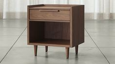 Tate Nightstand | Crate and Barrel Depending on the bed we get, this could be too low (e.g., if you decide the bed you want needs a box spring and a mattress, v. a platform-style bed).