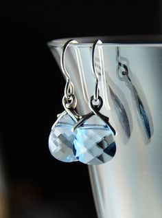 Items similar to Aquamarine Swarovski Earrings on Sterling Wires, Swarovski Crystal Bridal Wedding Jewelry on Etsy Eye Candy, Swarovski, Joy, My Favorite Things, My Style, Trending Outfits, Unique Jewelry, Handmade Gifts, Earrings