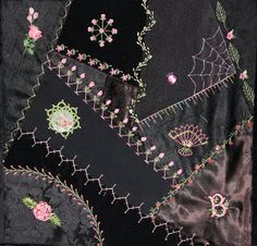 crazy quilting - omg, like the black background, would need to replace pink with red for ME.