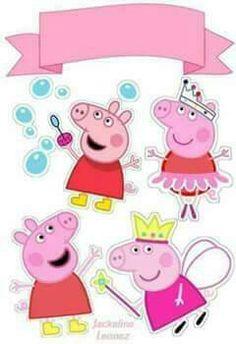 Peppa Pig Birthday Invitations, Pig Birthday Cakes, 3rd Birthday Parties, Girl Birthday, Bolo Da Peppa Pig, Cumple Peppa Pig, Peppa Pig Stickers, Pig Crafts, Pig Party