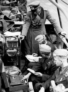 """German General Heinz Guderian at the Battle of France and what was thought to be his """"typist"""". Now we know it was an Enigma Machine. 1940"""