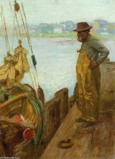 Edward Henry Potthast | Edward Henry Potthast >> Pêcheur Gloucester | (dessin, reproduction ...