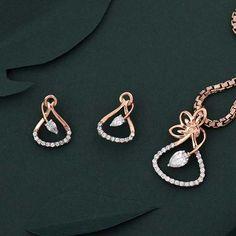 Diamond Pendant Necklace, Diamond Jewellery, Pendant Jewelry, Diamond Earrings, Gold Necklace, Jewelry Design Earrings, Necklace Designs, Real Gold Jewelry, Women Jewelry