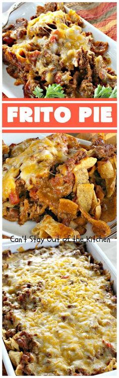 Nov Frito Pie is an amazing Tex-Mex main dish that has two layers of Fritos corn chips, two layers of beef and chili and two layers of cheese. Meat Recipes, Mexican Food Recipes, Dinner Recipes, Cooking Recipes, Ethnic Recipes, Dinner Ideas, Recipies, Chilli Recipes, Oven Recipes