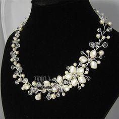 Bridal Necklace, Asymmetrical Ivory Swarovski Pearl Floral Vine Silver Wedding…