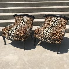 Love how these turned out! Leopard print slipper chairs ready for you to slip into! Now in the warehouse!   #leopardprint #shoplocalrva #slipperchairs #chairswithstories   #glamourpuss #hollywoodregency #leeradziwill #leopardprintforlife #interior_design #glamitup