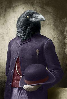 Suited Raven by Adrian Higgins Human Body Art, Human Head, Dark Sense Of Humor, Raven Art, Animal Heads, Gothic Art, Animal Paintings, Pet Portraits, Illustrators