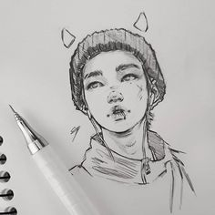 Ideas For Art Reference Character Design Girls Kpop Drawings, Pencil Art Drawings, Art Drawings Sketches, Sketches Of Boys, Realistic Drawings, Sketch Art, Jimin Fanart, Taehyung Fanart, Arte Sketchbook