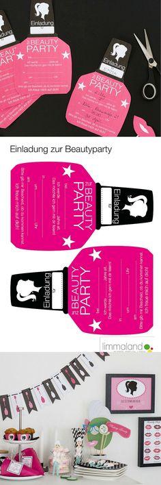 Kindergeburtstag Einladung Mädchen - Partyeinladung zum Ausdrucken: http://www.limmaland.com/shop/kindergeburtstag/beauty-party/ Set für die Mottoparty mit vielen anderen passenden Accessoires zum Basteln für den Kindergeburtstag.