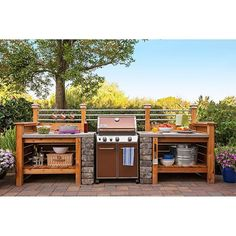 Diy Grill Surround Loweshomeimprovement Get The Look Of An Expensive Outdoor Kit. - Diy Grill Surround Loweshomeimprovement Get The Look Of An Expensive Outdoor Kitchen - Diy Outdoor Kitchen, Backyard Kitchen, Outdoor Cooking, Backyard Patio, Outdoor Decor, Outdoor Kitchens, Building An Outdoor Kitchen, Outdoor Spaces, Kitchen Grill
