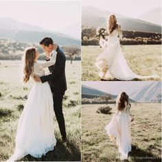 Romantic 2016 A-Line Wedding Dresses with Long Sleeves Illusion Bodice Heavily Embelished Vintage Garden Chapel Court Train Bridal Gowns Wedding Dresses Beach Bridal Gowns Garden Vintage Wedding Gown Online with 144.0/Piece on Magicdress2011's Store | DHgate.com
