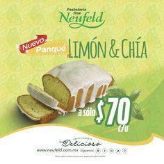Les presentamos el nuevo producto y creación de Neufeld: Panqué de limón con chia.  ¡Ven a probarlo!