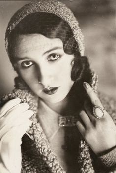 Renée Perle in veiled cap with one gloved hand and ring,1930 by J.H.Lartigue    [also& moreLartigue]
