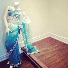 blue ombre saree with white floral design