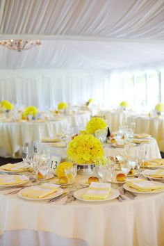 Yellow decor.  Perfect for a wedding. View more tips & ideas on our Facebook Page : https://www.facebook.com/BoutiqueBridalParty