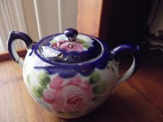 Nippon Hand Painted China Sugar Bowl with Lid with by ThatOneThing, $5.00