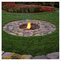 This built-in fire pit adds so much value to your yard! #outdoorideasfirepit