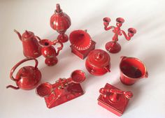 Vintage Miniature Doll House Utensils Set of by FadoVintage Red Accessories, Utensil Set, Stamp Making, Miniature Dolls, Vintage Toys, Dollhouse Miniatures, Household, Shabby Chic, Unique Jewelry
