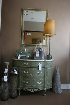 a coat of Chateau Grey by Annie Sloan Chalk Paint, and accent of Old White on all of the details