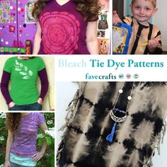 Discover a variety of bleach tie dye patterns in this collection. This stunning reverse tie dye technique produces gorgeous results! Tie Dye Folding Techniques, Tie Dying Techniques, Make A Tie, How To Tie Dye, Tie Dye Patterns, Crochet Patterns, Tie Dye Instructions, Diy Tie Dye Shirts, Reverse Tie Dye