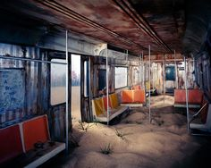 Lori Nix via Co.Design What if the subway was more like a beach? Artist Lori Nix created this diorama to explore further. Ha, just kidding, it's a haunting look at the world after the apocalypse. Image Desert, Post Apocalyptic City, Arte Zombie, Apocalypse Now, Apocalypse Aesthetic, Film Science Fiction, Blog Art, Design Typography, Colossal Art