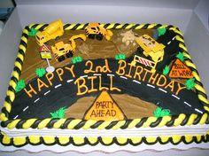 kids birthday cake construction theme.