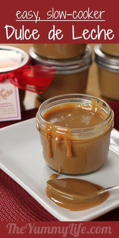 Dulce de Leche. Cook this delicious, creamy topping in a slow cooker right in the jars that are used for serving or gift-giving. Free printable tags, too!