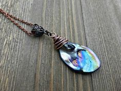 Abalone pearl drop copper wire wrapped pendant necklace. Purple, blue, shell, pearl handmade jewelry. - McKee Jewelry Designs #handmadejewelry