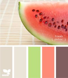 What about this color family for dresses/decor? ... Don't have to playup the watermelon idea but the colors are pretty...