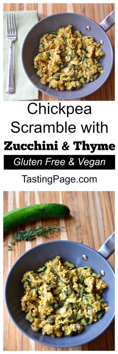 Vegan and gluten free chickpea scramble with zucchini and thyme - a great and healthy protein-rich breakfast Protein Rich Breakfast, Vegetarian Breakfast, Healthy Breakfast Recipes, Brunch Recipes, Vegetarian Recipes, Healthy Eating, Healthy Recipes, Alkaline Recipes, Free Breakfast