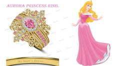 10k Yellow Gold Plated Multi-Color Stone Disney Princess Aurora Bridal Ring Set #Affoin8 #WeddingEngagementAnniversaryPromiseVelentines