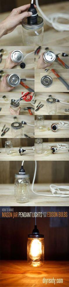 Lámpara con un tarro de vidrio / Via diyready.com