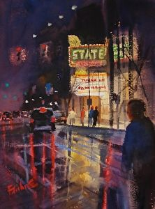 Traverse City Reflections by artist Lisa Flahive.#watercolor painting found on the FASO Daily Art Show - http://dailyartshow.faso.com