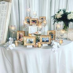 Memory table Wedding Entrance Table, Wedding Table, Our Wedding, Wedding Memorial Table, Wedding Ideas, Wedding Welcome Table, 50th Wedding Anniversary, Anniversary Parties, 50th Anniversary Centerpieces