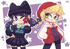 MLB. Marinette as Chat Noir and Adrien as Ladybug. I love Marinette's outfit