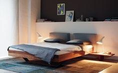 Ein leichtes Design für einen tiefen Schlaf. Der dünne Massivholzrahmen des B15 liegt auf einer fast unsichtbaren Kufe.