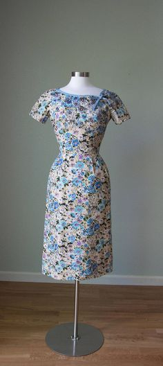 1950s Cotton Hourglass Dressy Dress with Flower Beading /