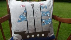 Lovely Handmade Applique Feather Cushion with Pirate Ship Design £55.00