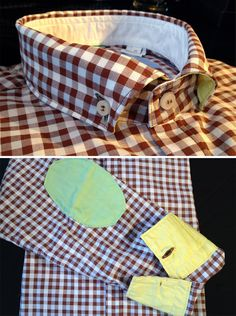 Poggianti gingham shirt with contrast details from Gotstyle Menswear $275.