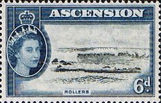 Postage Stamps Ascension 1956 Queen Elizabeth II  Rollers on seashore SG 64 Scott 69 Fine Mint For Sale Take a look